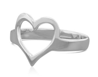 Sterling Silver Heart Ring Gift for Her - Bohemian Ring - Promise Ring for Her - Minimalist Ring - Knuckle Ring