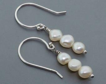 Sterling Silver Dangle Earrings - Drop Earrings Fresh Water Pearls - Wedding Jewelry - Bridal Earrings - Silver Earrings - Minimal Earrings