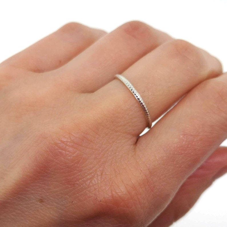 Dainty stacking ring in sterling silver or gold filled delicate knuckle or midi ring with small dots
