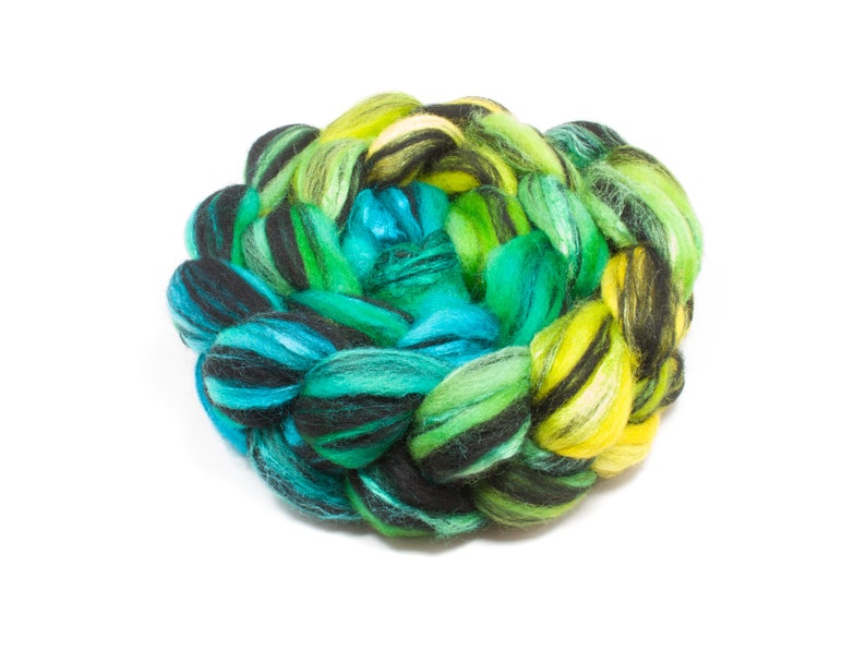 Combed Top  Roving for Spinning and Felting 4oz Blueface Leicester BFL Wool Silk