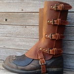 Taller Swiss Military Style Gaiters or Spats in Oiled Matte Brown Leather w Antiqued Brass Hardware