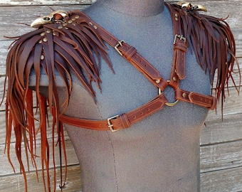Feathered or Spiked Leather Harness in Brown w Antiqued Brass Raven Skulls