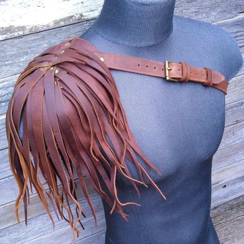 Primitive Feathered Brown Leather Unisex Right Shoulder Harness with Antiqued Brass Hardware