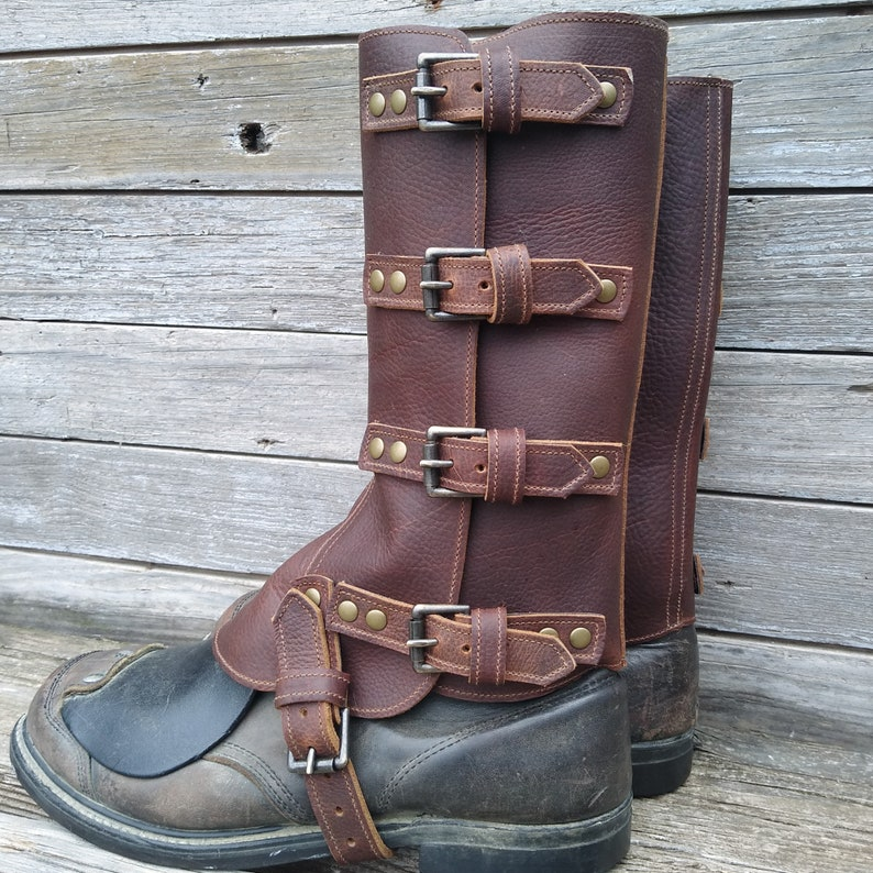 Edwardian Men's Shoes & Boots | 1900, 1910s Taller Swiss Military Style Gaiters or Spats in Oiled Brown Leather w Antiqued Brass Hardware $94.00 AT vintagedancer.com