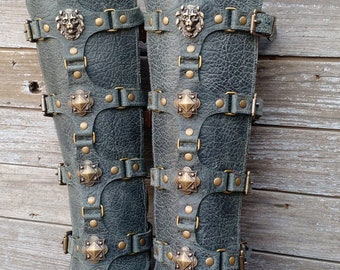 Green Gray Leather Shin Guards, Shinguards, Greaves or Gaiters with Antiqued Brass Lion and Shields