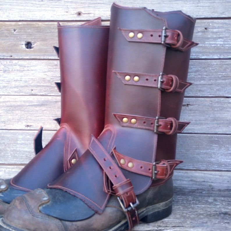Spats, Gaiters, Puttees – Vintage Shoes Covers Primitive Glossy Brown Leather Peaked Spats with Antiqued Brass Hardware $98.00 AT vintagedancer.com