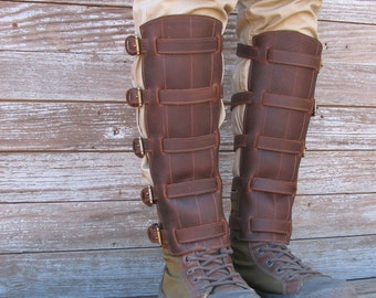 Steampunk Oiled Chocolate Brown Leather Shin Guards or Gaiters with Antique Brass Hardware