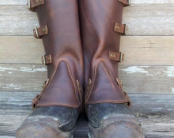 Taller Swiss Military Style Gaiters or Spats in Oiled Brown Leather w Antiqued Brass Hardware