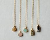 Token Necklace custom cut stone pendant
