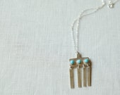 Vessel Necklace- Sterling Silver Bronze Gold fill turquoise hinge chime chain