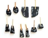 Snowflake Obsidian Stone Slab Earrings