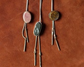 Stone and Sterling Bolo Tie Necklace
