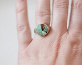 Peace Stone Signet Ring in Sterling Silver Turquoise Mosaic