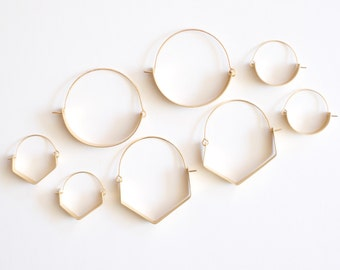 Modo Hoops Round and Geometric Gold Fill Earrings