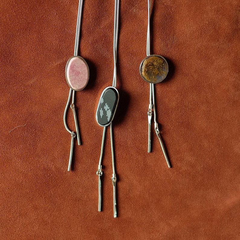 Stone and Sterling Bolo Tie Necklace image 0