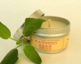 BLACKBERRY SAGE Hand Poured Soy Candle Tin / 6 oz