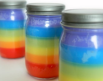 Rainbow Candle / Six Layer Soy Wax / Hand Poured
