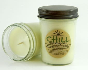 CHILL -  Minty Essential Oil Blend Aromatherapy Candle 8 oz Jar