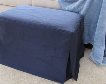 Ottoman Slipcover with Top Stitched Seams and Tailored Skirts