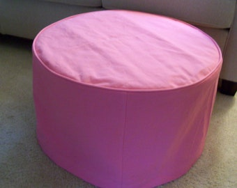 Round Ottoman Slipcover with Welt Cord, Round Ottoman Cover