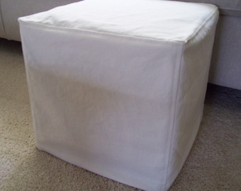 Cube Slipcover Top Stitched Seams, Small Ottoman Cover or Footstool Slipcover