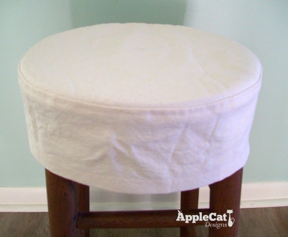 Round Bar Stool Slipcover Topstitched No Cushion Barstool Etsy