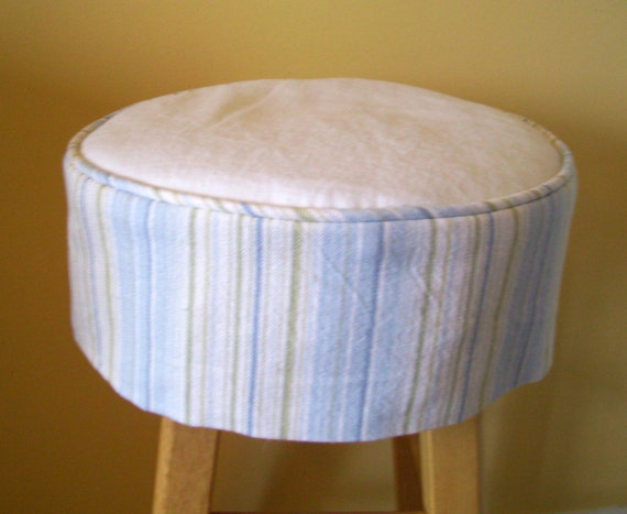 Stock 13 Inch Round Striped Barstool Slipcover With Cushion Etsy