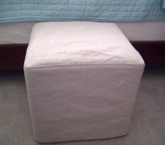 Excellent Cube Slipcover Top Stitched Small Ottoman Cover Footstool Slipcover Bralicious Painted Fabric Chair Ideas Braliciousco