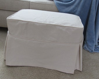 Ottoman Slipcover Tailored Skirts and Welt Cord, Washable Canvas Slipcover, Ottoman Cover