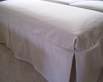 Bench Slipcover with Tailored Skirt and Floor Length, Ottoman Cover, Bedroom Bench Cover