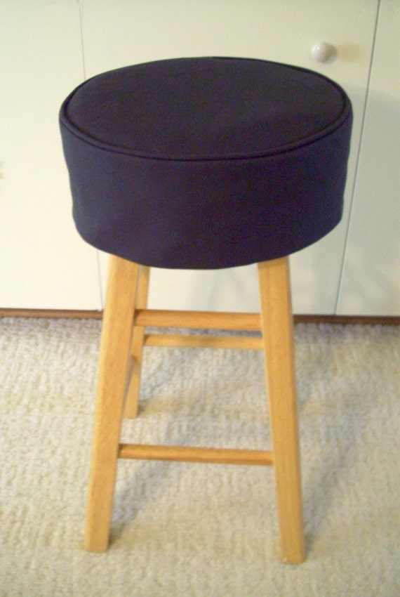 Black Barstool Slipcover With Cushion Round Bar Stool Cover Etsy
