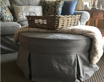 Round Ottoman Slipcover with Welt Cord and Pleats, Round Ottoman Cover
