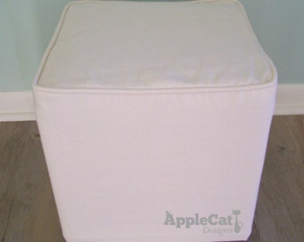 Cube Slipcover with Welt Cord, Small Ottoman Cover Cube Cover