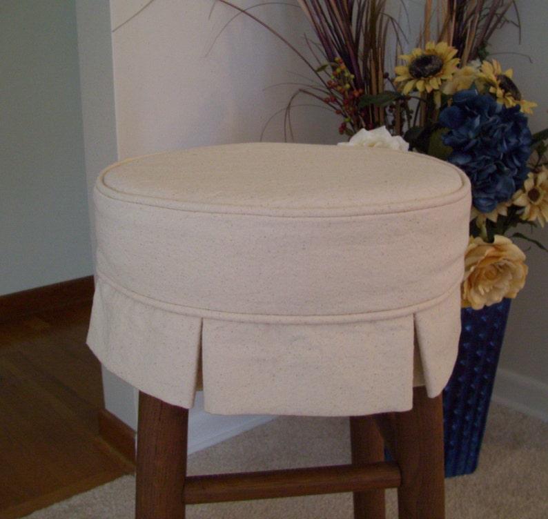 Box Pleat Round Bar Stool Slipcover Canvas Barstool Cover Etsy