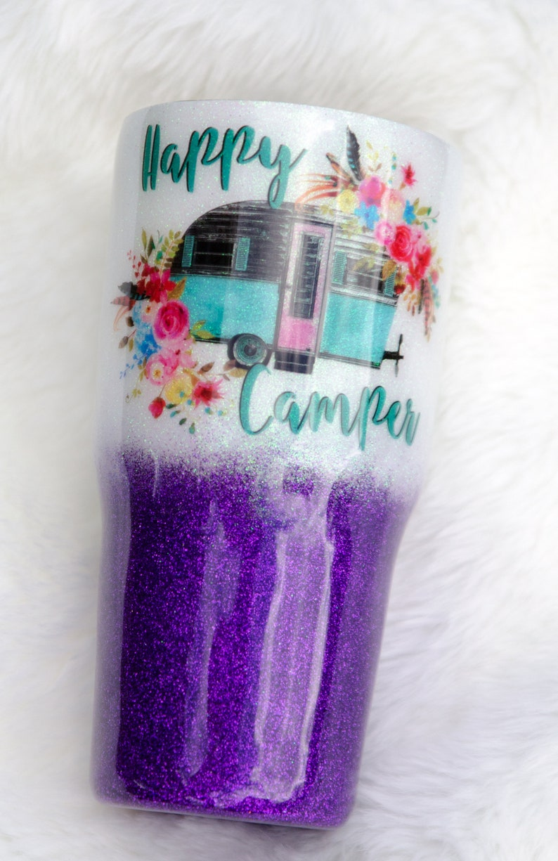 Glamping Camping Grandma Mom Happy Camper Epoxy Tumbler 20oz - Cup Customized Gift Personalized