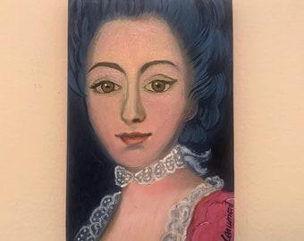 Lady in Pink Oil on Art Board