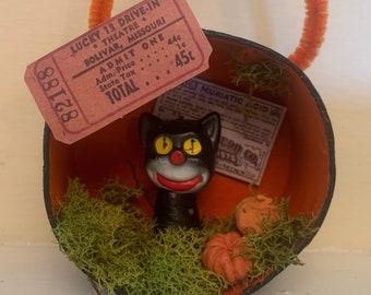Black Cat With Ticket Stub - Halloween Diorama Ornament