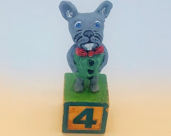 French Bulldog Miniature sculpture on wooden block