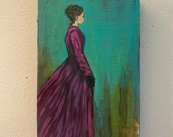 Lady in Purple Oil on Art Board