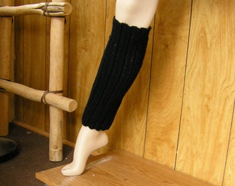 """Pair of black legwarmers, crochet with Red Heart Soft worsted yarn, 12"""" around and 16"""" long with sliver tone button accents"""