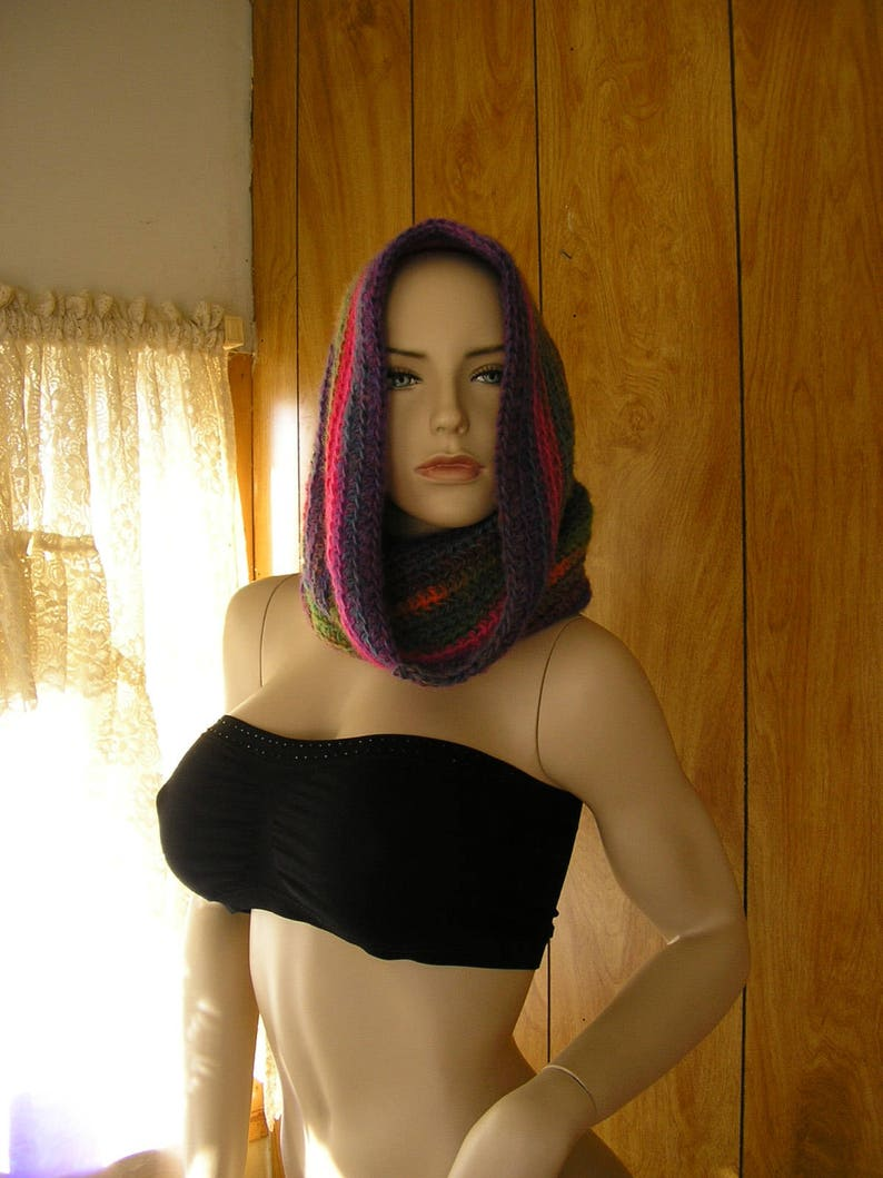 hood hand crochet in blended shades Crochet wool blend hooded cowl cowl it is 28 around and 16 long pixie hood infinity scarf