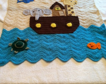 Boy or Girl Noah's Arc Ark Baby Afghan Blanket Made to Order Crocheted Handmade New Unique Night and Day Crochet Etsyturns13