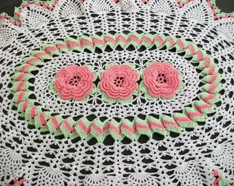 Pink White and Mint Roses Pineapple Runner Crocheted Flowered Doily Handmade Flower Home Decor Ready to Ship Night and Day Crochet