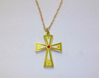 Vintage Cloisonne Cross Necklace DEADSTOCK
