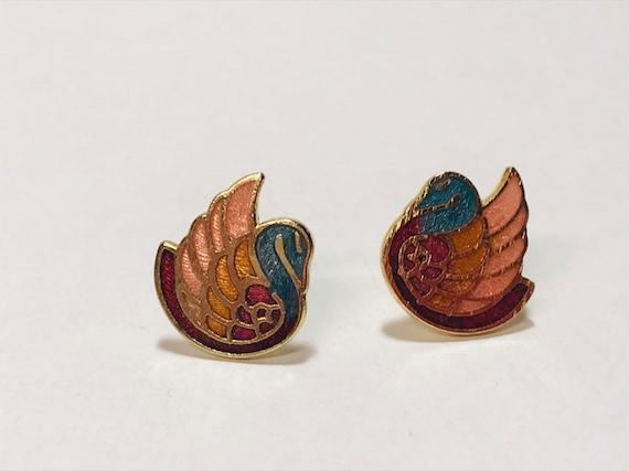Cloisonne Swan Earrings