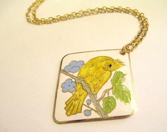 Vintage 70s Enamel Bird Canary Necklace DEADSTOCK
