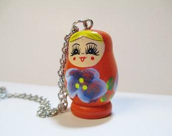 Orange Russian Doll Matryoshka Necklace