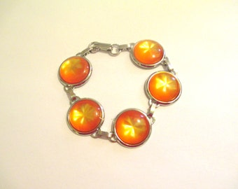 Vintage 60's Orange Moonglow Lucite Bracelet DEADSTOCK