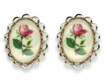 Vintage Antique Filigree Pink Red Rose Earrings
