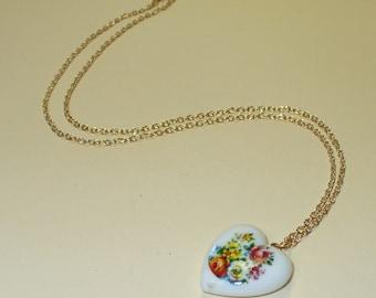 Vintage 80's Floral Heart Necklace DEADSTOCK